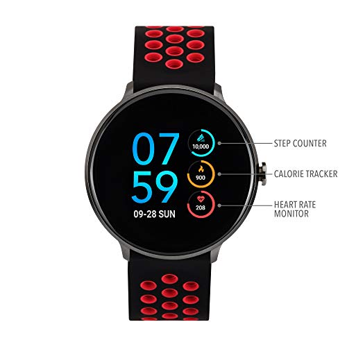 iTouch Sport Round Smartwatch - Silicone Strap (Black/Red)