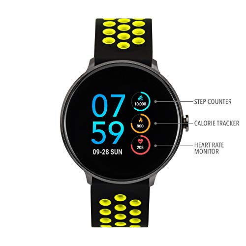iTouch Sport Round Smartwatch - Silicone Strap (Black/Lime)