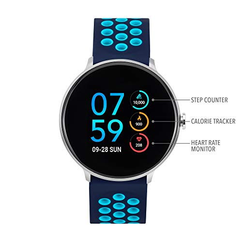 iTouch Sport Round Smartwatch - Silicone Strap (Navy/Turquoise)