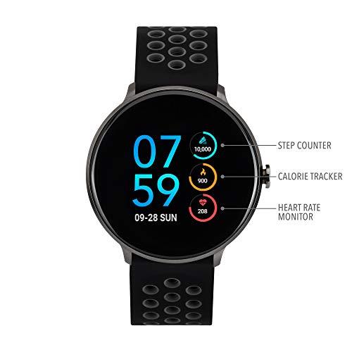iTouch Sport Round Smartwatch - Silicone Strap (Black/Gray)