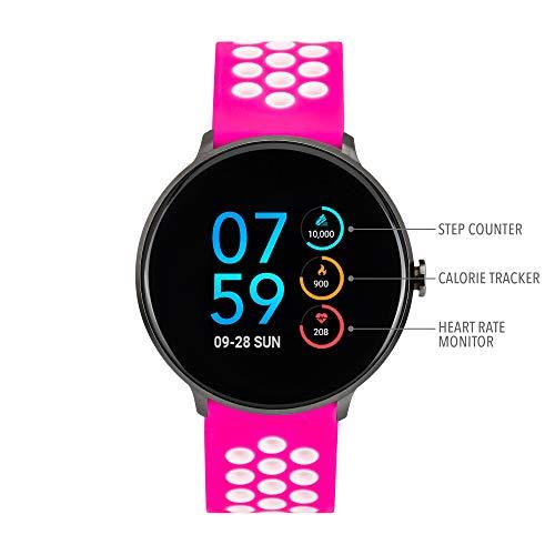 iTouch Sport Round Smartwatch - Silicone Strap (Fuchsia/White)