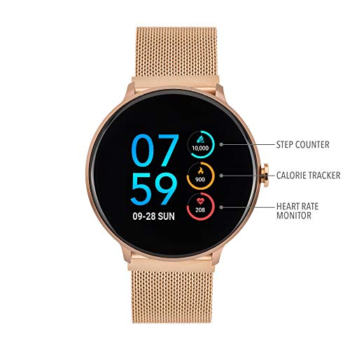 iTouch Sport Round Smartwatch - Metal Mesh Strap with Magnetic Closure (Rose Gold)