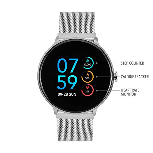 iTouch Sport Round Smartwatch - Metal Mesh Strap with Magnetic Closure (Silver)