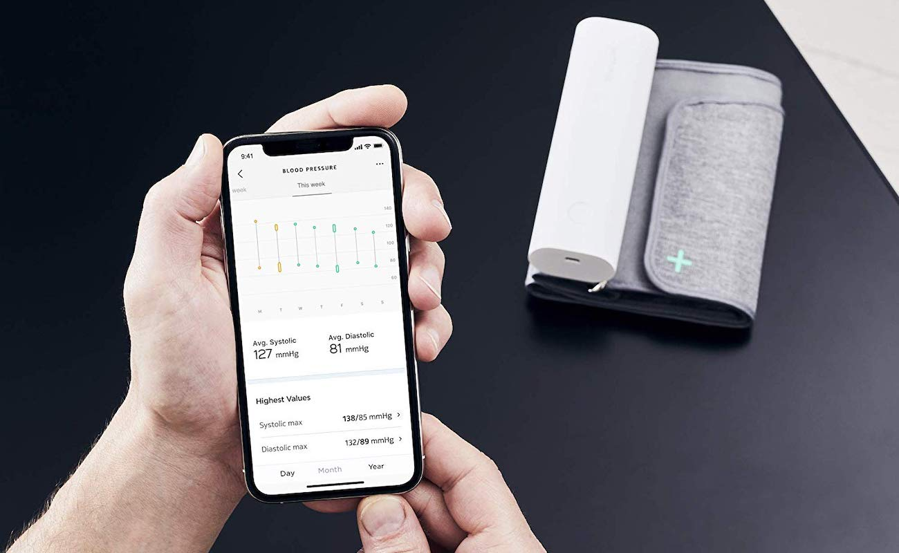 The Withings BPM Connect uses an easy-to-read color-coded ...