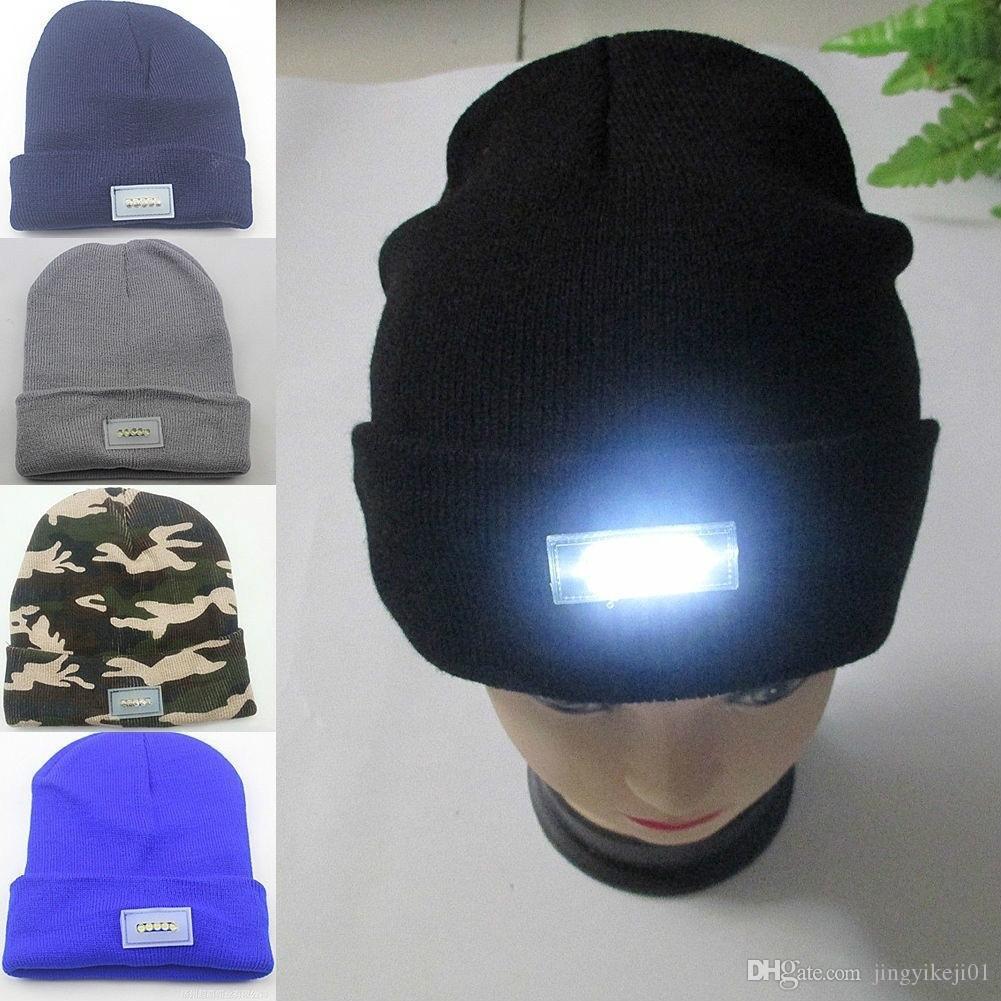 2019 5 LED Knit Cap Lighted Cap Hat Winter Warm Beanie ...