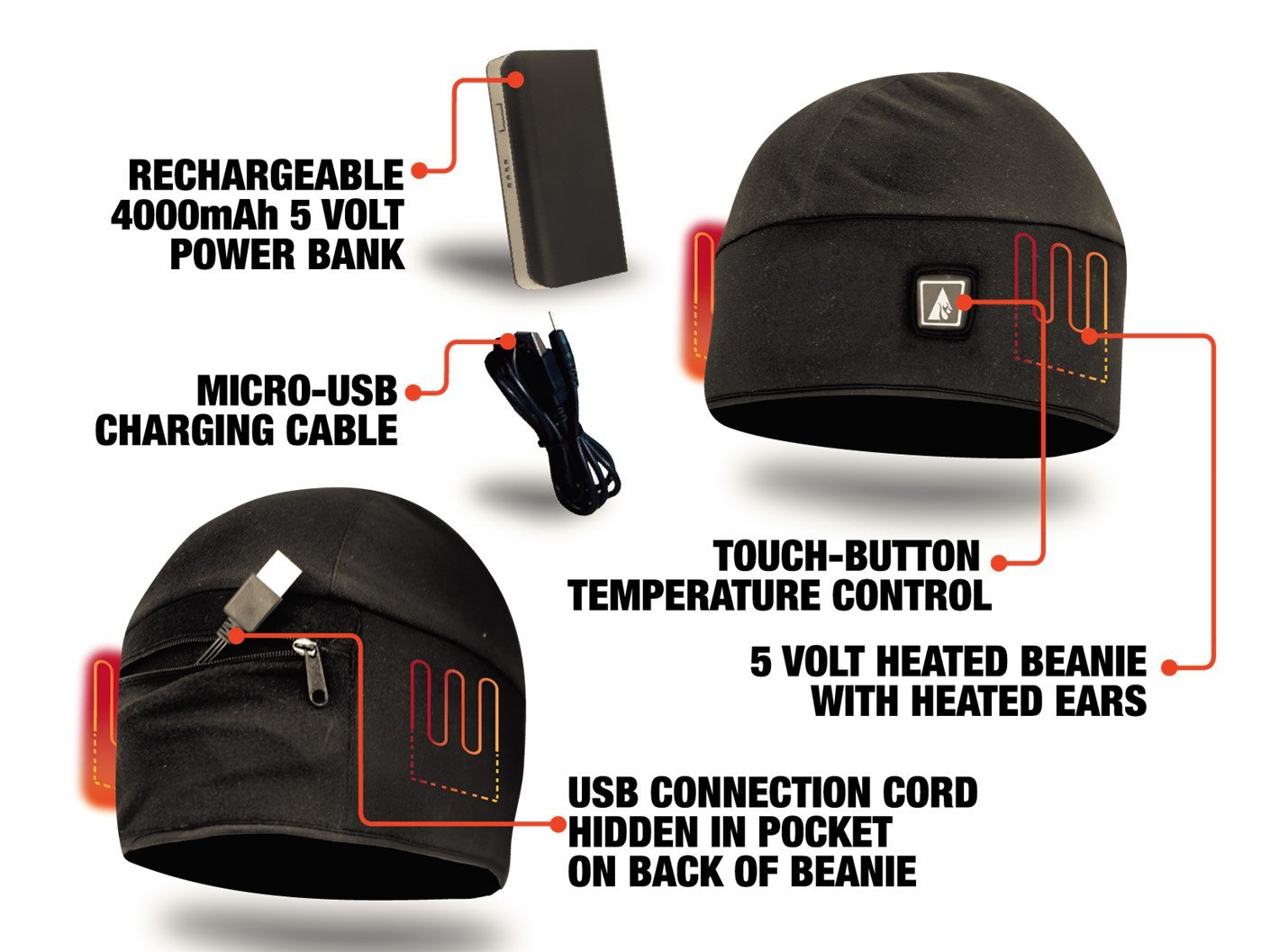 ActionHeat Rechargeable Battery Heated Beanie Hat ...