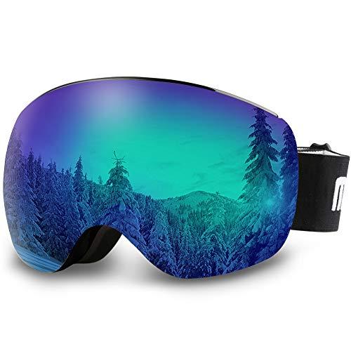 AKASO OTG Ski Goggles - Black Frame / Grey Lens with Blue Coating (VLT 10.5%)