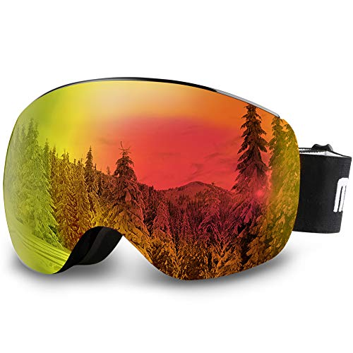 AKASO OTG Ski Goggles - Black Frame / Grey Lens with Colorful Coating (VLT 17%)