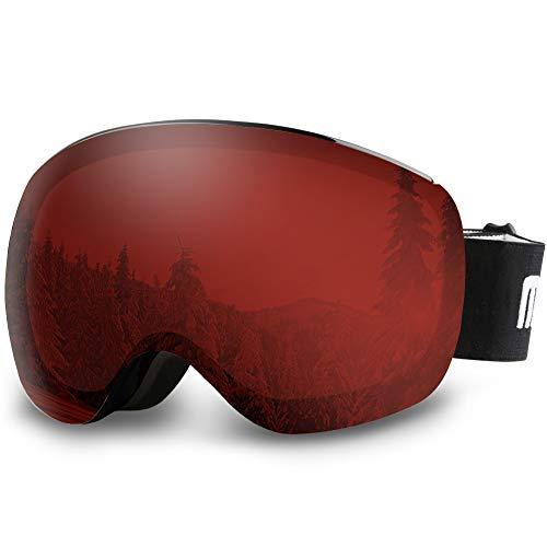 AKASO OTG Ski Goggles - Black Frame / Red Lens with Silver Coating (VLT 16.5%)