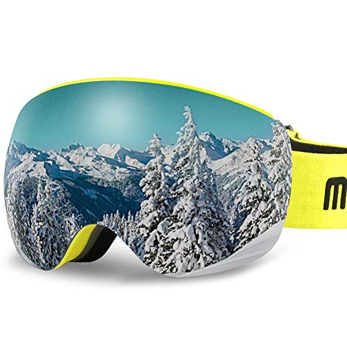 AKASO OTG Ski Goggles - Lemon Frame / Grey Lens with Golden Coating (VLT 7%)