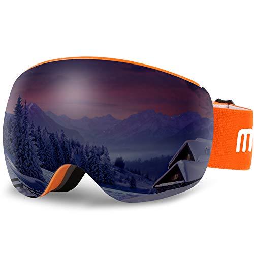 AKASO OTG Ski Goggles - Orange Frame / Grey Lens with Silver Coating (VLT 11%)