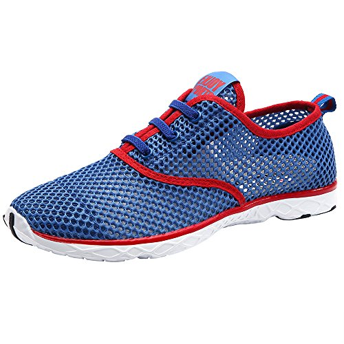 ALEADER Men's Quick Drying Aqua Water Shoes Aqua/Red 10.5 D(M) US