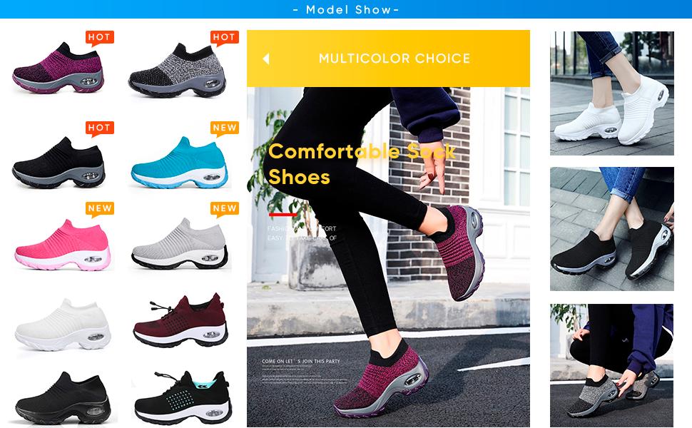 Slow Man Womens Walking Shoes Sock Sneakers