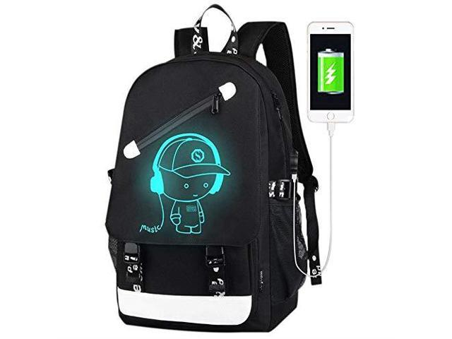 Anime Luminous Backpack Laptop Backpack with USB Charging Port Bookbag for School with AntiTheft Lock Black Travel Backpack Cool Back Pack for Work 177 x 118 x 55