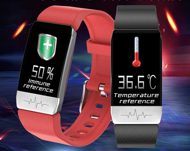 Bakeey T1 Smartband – Features Thermometer and ECG Sensor ...