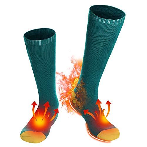 Battery Heated Socks for Men Women - GREEN + YELLOW