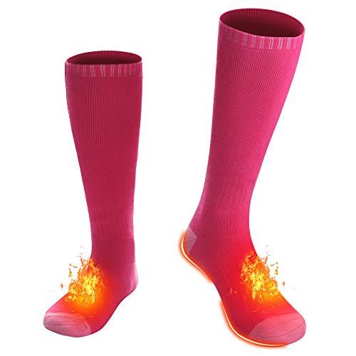 Battery Heated Socks for Men Women - PINK