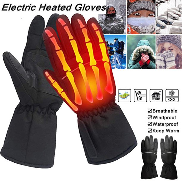 Battery Powered Electric Heated Gloves Waterproof Insulated Motorcycle Electrocar Heating Gloves Warmer For Men Women
