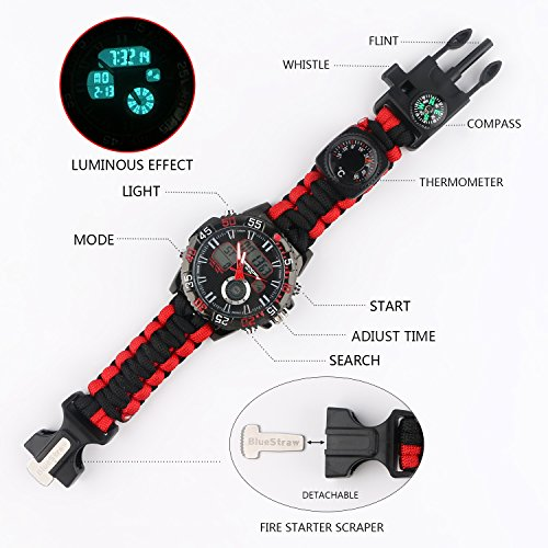 bluestraw Digital Survival Sport Paracord Watch