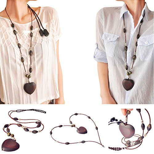 Brown Genuine Leather with Wood Love Necklace