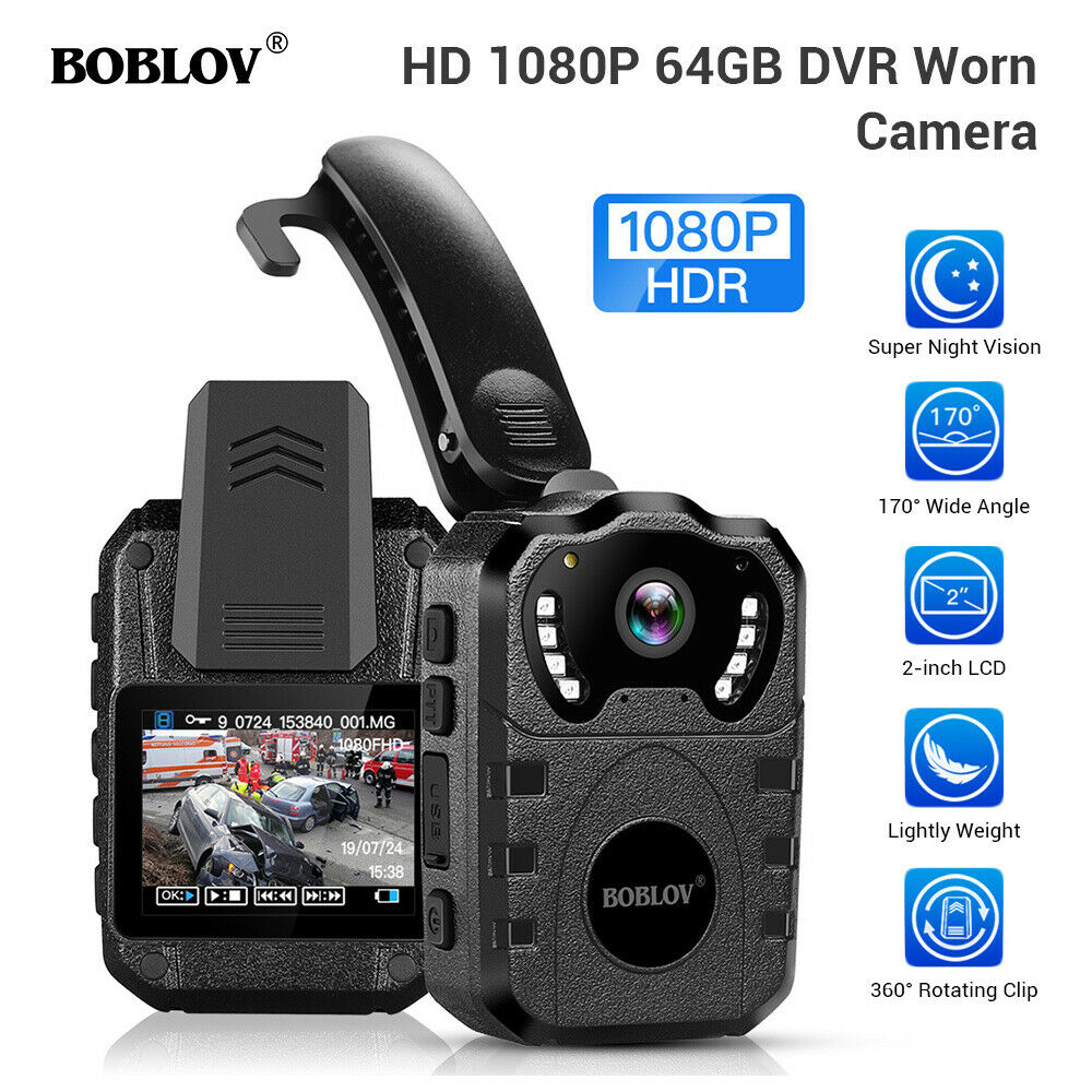 BOBLOV 1080P HD Body Worn Camera IR Waterproof Night ...