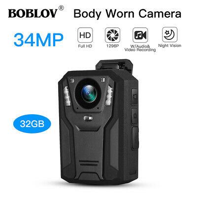 BOBLOV 1296P Body Camera 32GB IR Portable Video Recorder ...