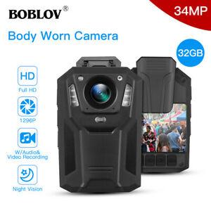 BOBLOV 1296P Body Mounted Camera 32GB Night Vision ...