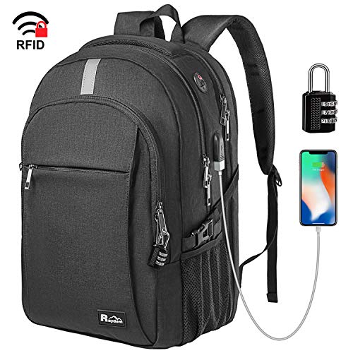 """Business Laptop Backpack, Extra Large TSA Friendly Durable Anti-Theft Travel Backpack with USB Charging Port, Water Resistant College School Computer Bag for Women & Men Fits 15.6"""" Laptop"""