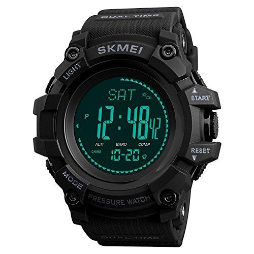 Compass Watch Army, Digital Outdoor Sports Watch for Men Women, Pedometer Altimeter Calories Barometer Temperature Waterproof (Black)