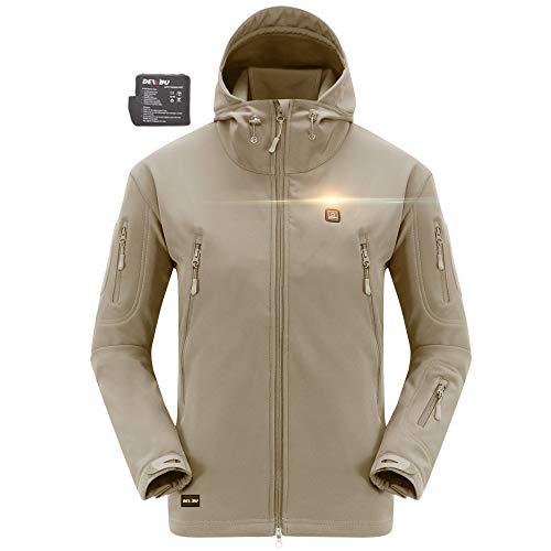 DEWBU Heated Soft Shell Jacket - MENS'S BEIGE
