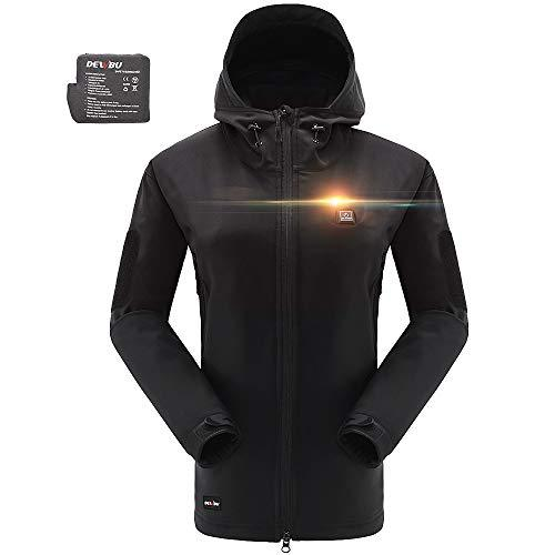 DEWBU Women's Soft Shell Heated Jacket with Battery Pack ...