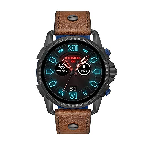 Diesel Men's Stainless Steel Watch with Leather Band Strap, Brown, 24 (Model: DZT2009)