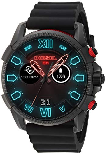 Diesel On Men's Touchscreen Watch with Silicone Band Strap, Black, 22 (Model: DZT2010)