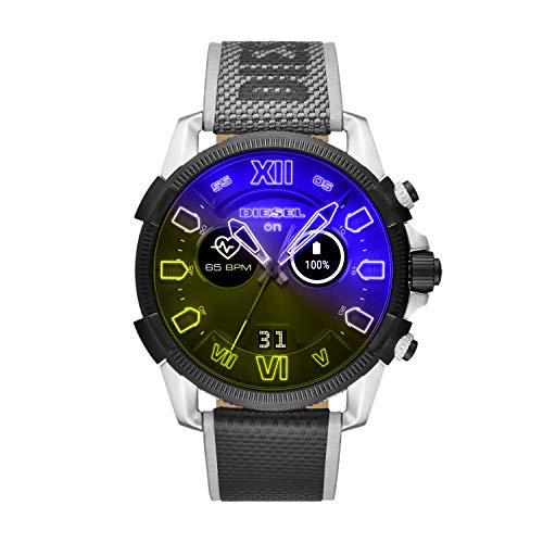 Diesel On Men's Full Guard 2.5 Steel and Nylon Smartwatch, Black and Yellow Iridescent crystal-DZT2012