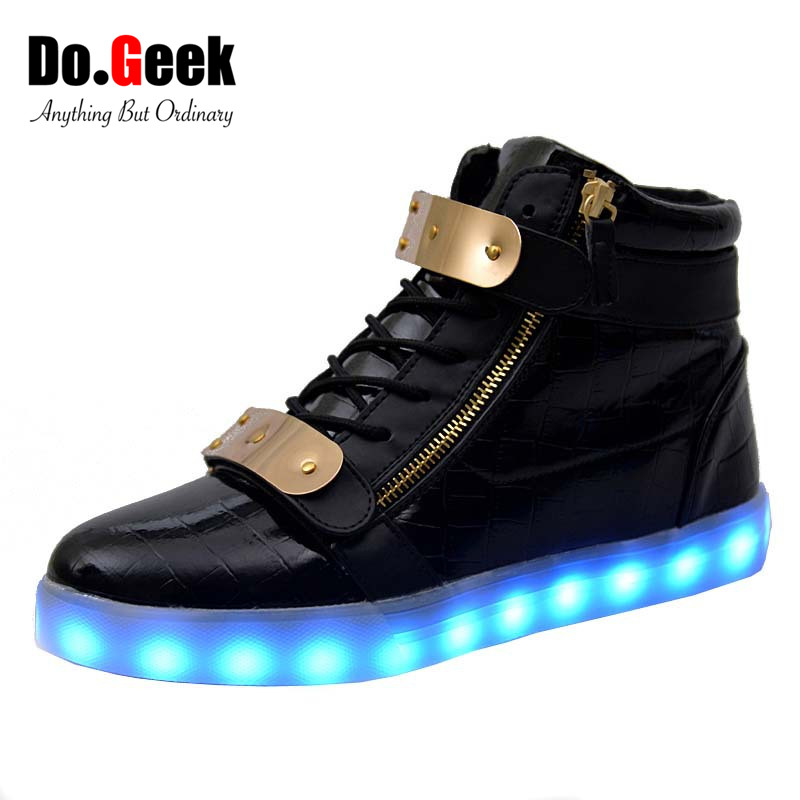 DoGeek LED Light Up Trainers Black White High Top Leather ...