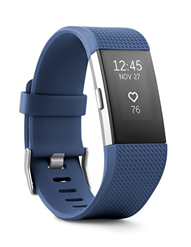 Fitbit Charge 2 Heart Rate + Fitness Wristband, Blue, Large (US Version), 1 Count