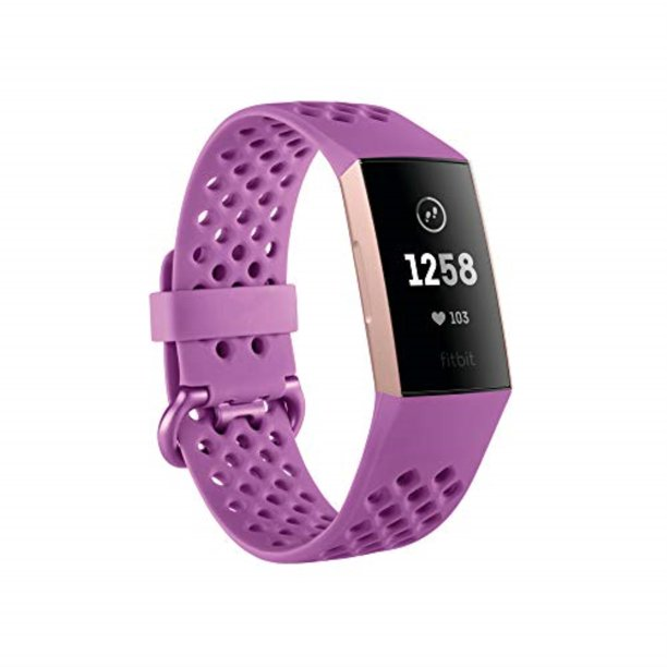 fitbit charge 3 fitness activity tracker, rose gold/berry, one size (s & l bands included)