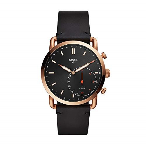 Fossil Men's Commuter Hybrid Smartwatch - Rose Gold-Tone and Black Leather