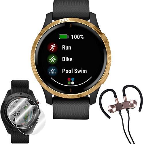 Garmin Venu Amoled GPS Smartwatch (Gold,Black Band)
