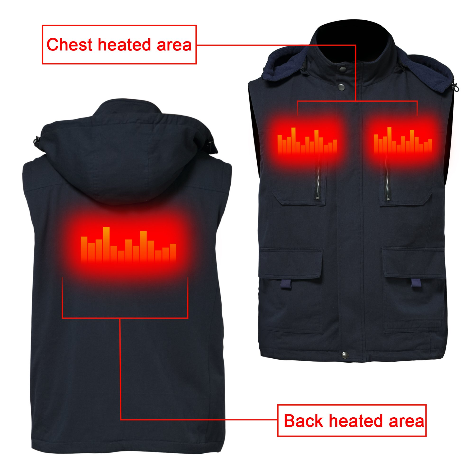 GLOBAL VASION Electric Warmer Rechargeable Heated Vest ...