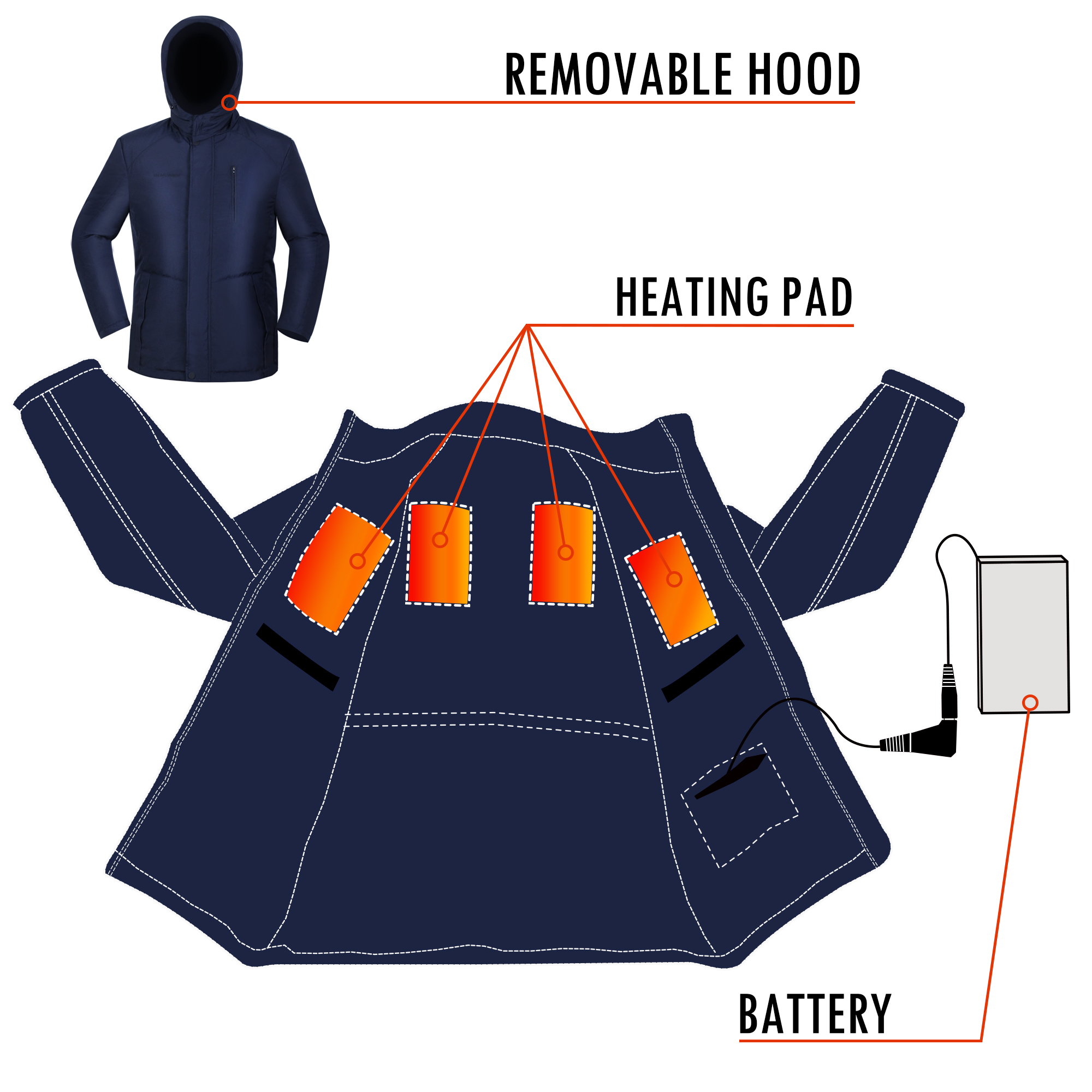 GLOBAL VASION Heated Jacket Winter Down Coat with ...