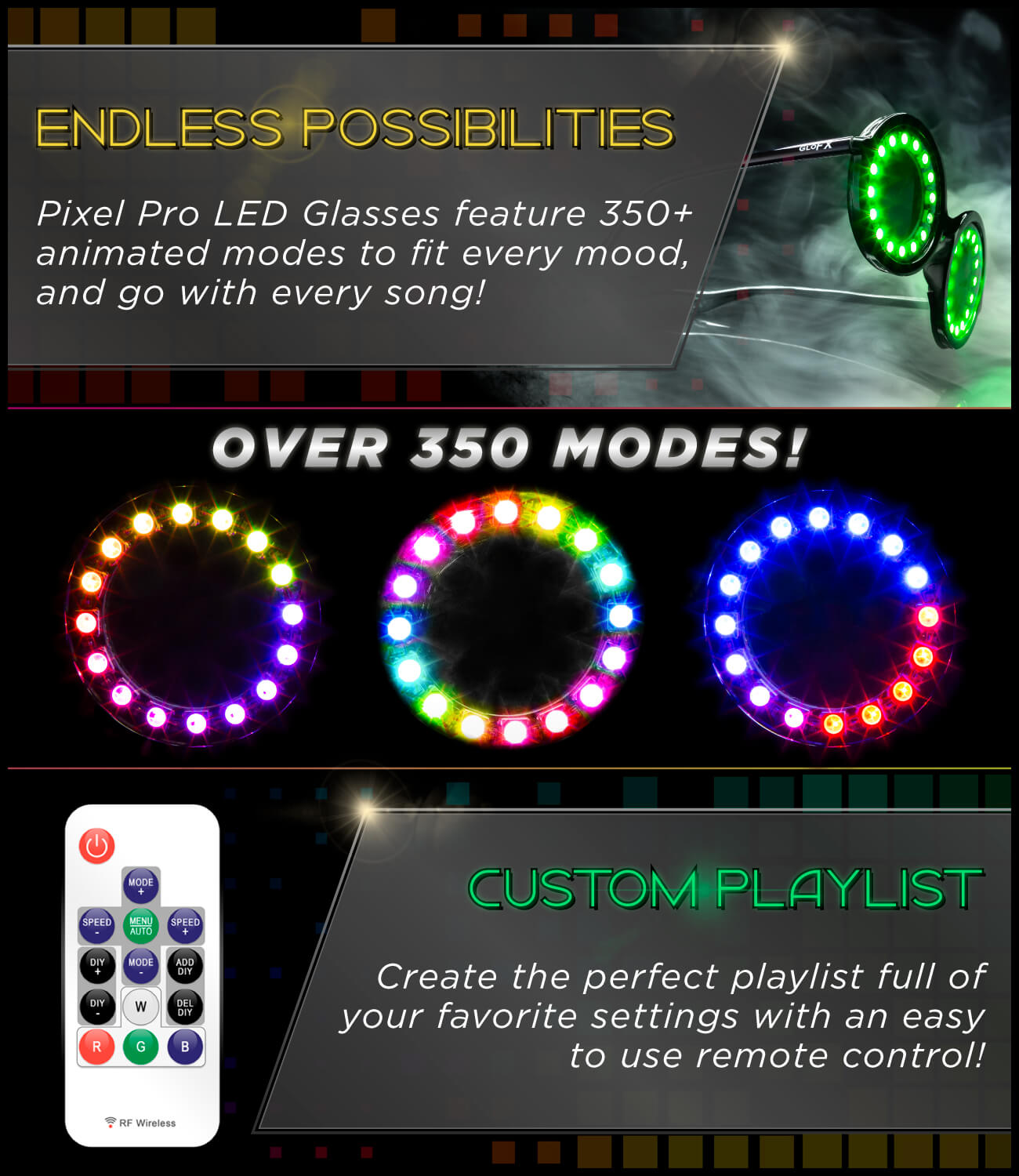 GloFX Pixel Pro LED Glasses | 350+ Modes | Programmable