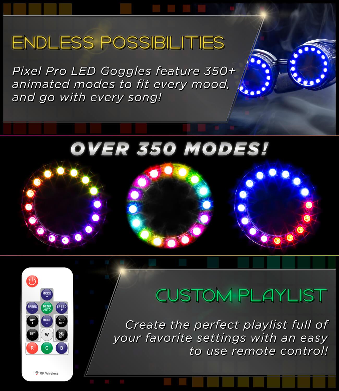 GloFX Pixel Pro LED Goggles   350+ Modes   Free Shipping