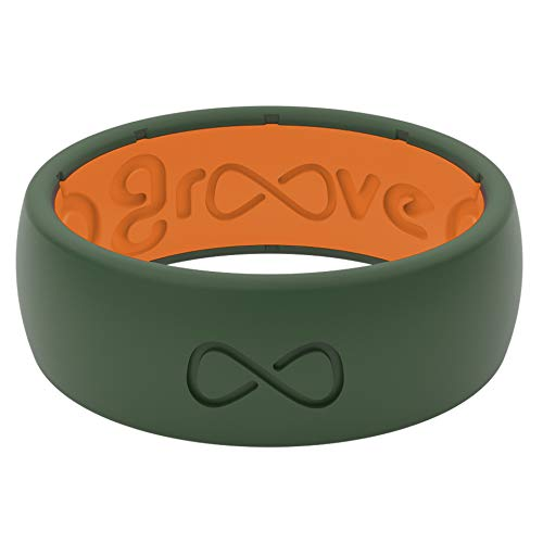 Silicone Wedding Ring for Men - Moss Green/Orange