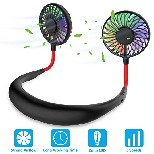 Hands Free Portable Neck Fan - (Black)