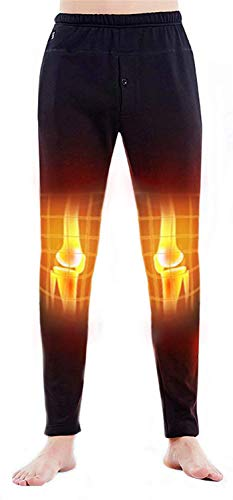Heated Pants USB Electric Heated Pants Electric Thermal Heating Trousers Men/Women (Battery Not Included) (Black-Men, XL)