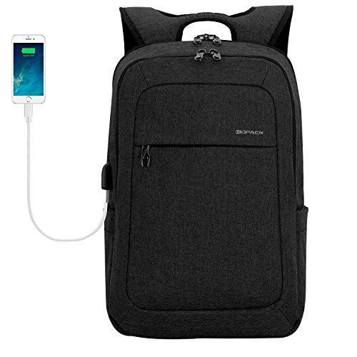 kopack Laptop Backpack Men Women USB Port - Charcoal Black