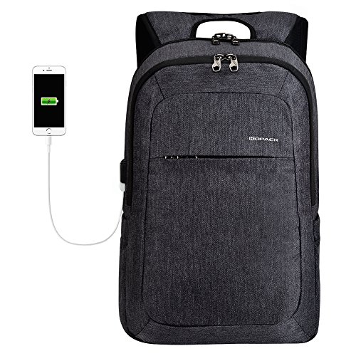 kopack Laptop Backpack Men Women USB Port - Dark Gray