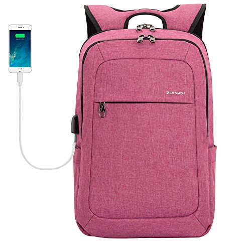 kopack Laptop Backpack Men Women USB Port - Magenta