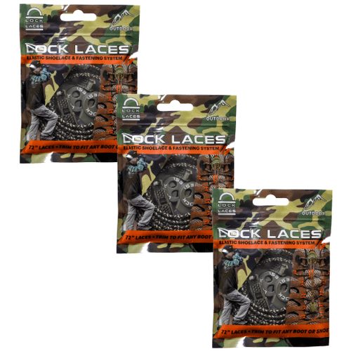 LOCK LACES Boot Laces (Elastic No Tie Boot Laces) (Pack of 3) (Camo)